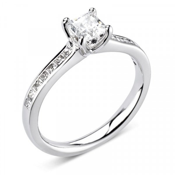 Prong Setting Princess Shoulder Set Accented Side Diamond Engagement Ring