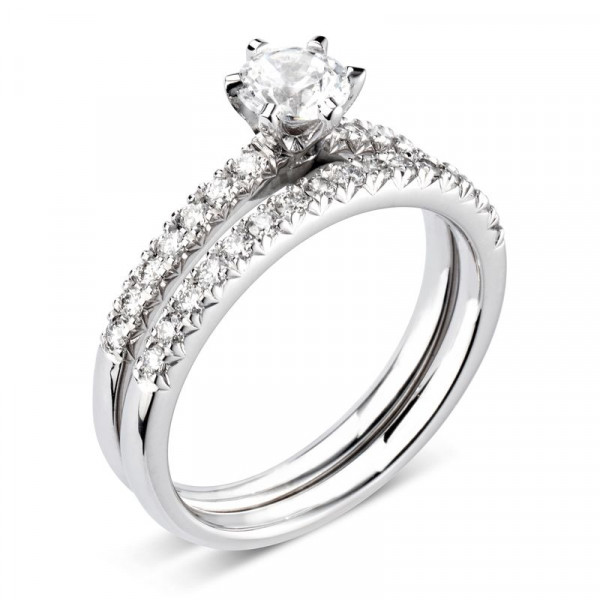 Solitaire Diamond Round Cut Engagement Rings White Gold Prong Setting