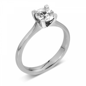 Solitaire Moissanite Engagement Ring Prong Set in Round Brilliant