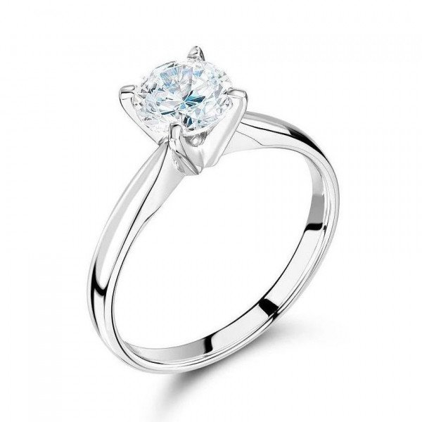 Round Solitaire Diamond Engagement Rings In Rose / White Gold Prong Setting