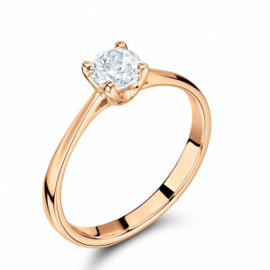 4 Prong Set Round Solitaire Rose Gold Diamond Engagement Rings