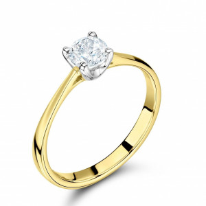Round 0.40 VVS2 F ABELINI 18K Yellow Gold 4 Prong Set Round Solitaire Rose Gold Diamond Engagement Rings