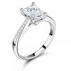 Radiant Side Stone On Shoulder Set Accented Diamond Engagement Ring