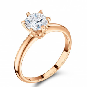 Round 0.40 I1 D ABELINI 18K Rose Gold 6 Prong Setting Round Brilliant Cut Solitaire Diamond Engagement Rings for Women