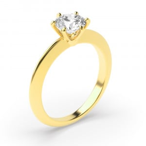 Round 0.30 I1 D ABELINI 18K Yellow Gold 6 Prong Setting Round Brilliant Cut Solitaire Diamond Engagement Rings for Women
