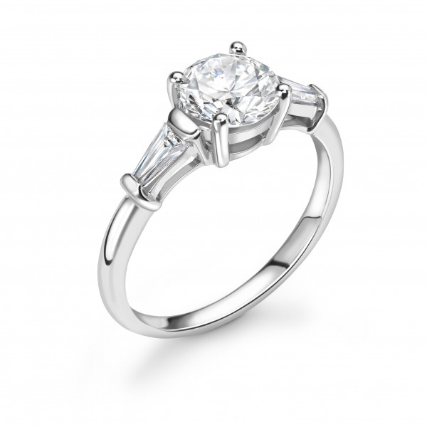 Round Cut with Tapered Baguette on Side Diamond Engagement Rings