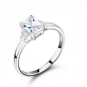 Radiant Cut Side Stone On Shoulder Set Accented Diamond Engagement Ring In Platinum