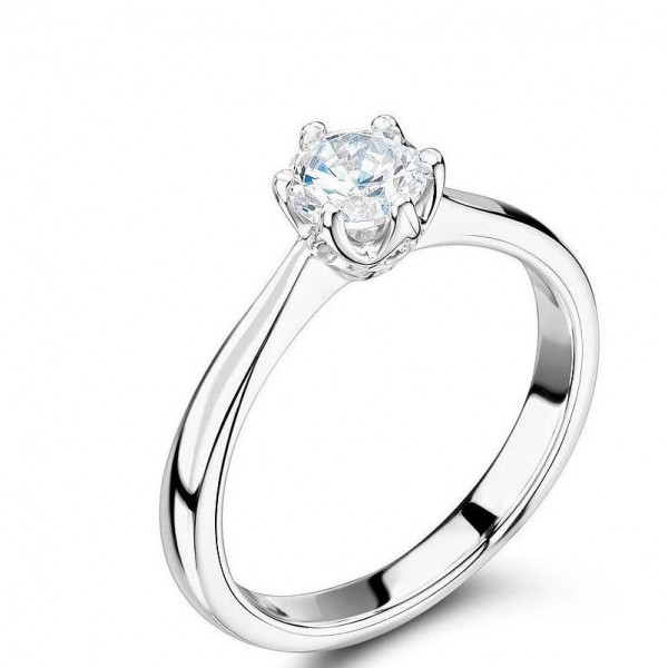 6 Claws Round Solitaire Diamond Engagement Rings in Rose / White Gold / Platinum