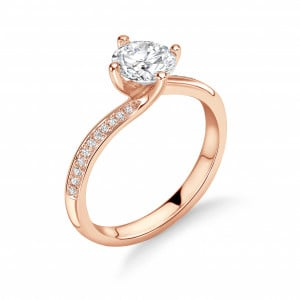 Twist  Setting Side Stone Diamond Engagement Rings UK