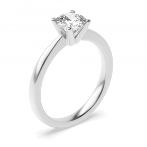 Round 0.40 SI1 G ABELINI 18K White Gold 4 Prong Setting Round Brilliant Cut Solitaire Diamond Engagement Rings for Women