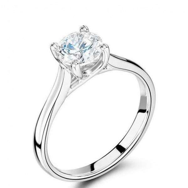 4 Prong Round Solitaire Rose / White Gold & Platinum Diamond Engagement Rings