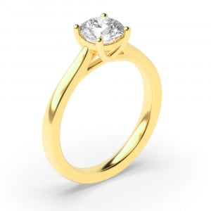 Round 0.20 I1 H ABELINI 9K Yellow Gold 4 Prong Round Solitaire Rose / White Gold & Platinum Diamond Engagement Rings