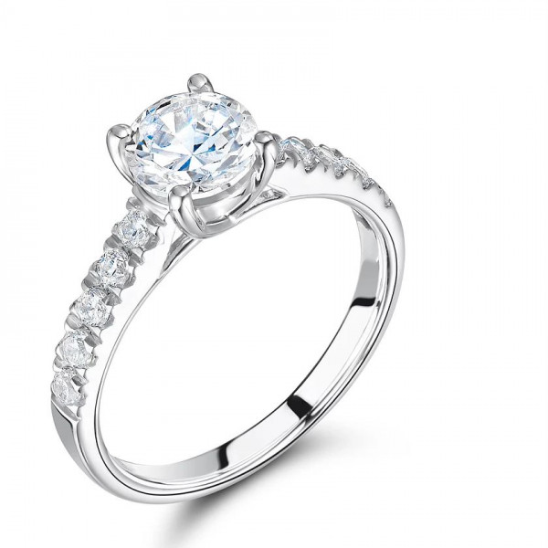 Round Cut Side Stone On Shoulder Set Accented Diamond Engagement Ring White Gold