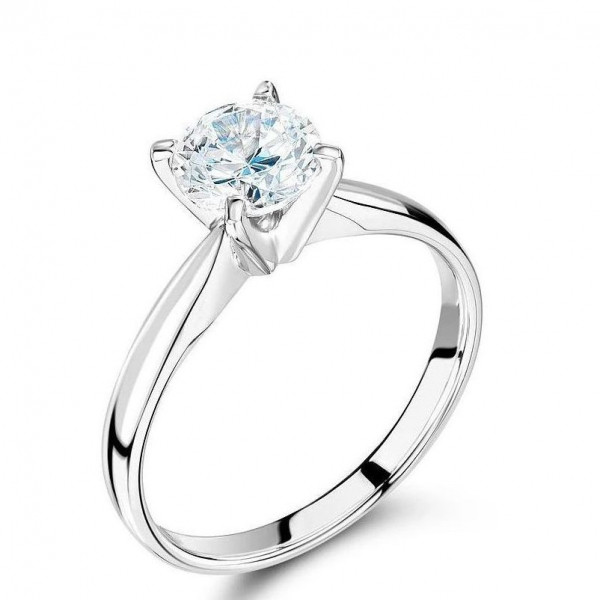 Solitaire Engagement Ring with Brilliant Cut Diamond Held By 4 Prongs