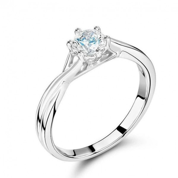 Platinum Engagement Rings 6 Prong Round Solitaire Diamond Ring for Women