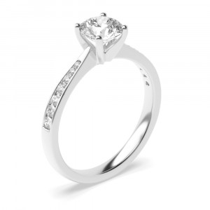Round 0.40 I1 F ABELINI 18K White Gold 4 Claw Set Round Brilliant Cut Solitaire Diamond Engagement Rings in UK