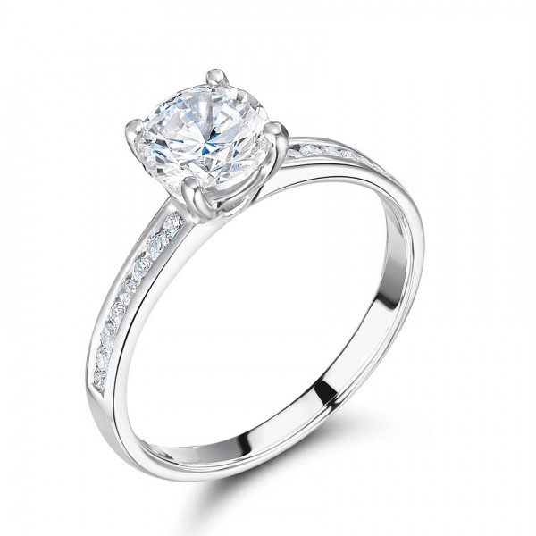 Round Diamond Engagement Ring Side Stone On Shoulder Set Accented White Gold