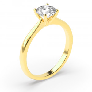 Round 0.50 SI2 H ABELINI 18K Yellow Gold Round Solitaire Diamond Engagement Rings Rose / White Gold & Platinum