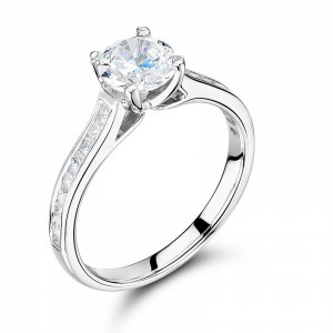 Round 0.45 I1 I ABELINI 9K White Gold Side Stone On Shoulder Set Accented Round Diamond Engagement Ring Gold