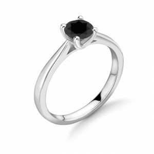 4 Claw Set Round Shape Black Diamond Ring For Men's and Women's