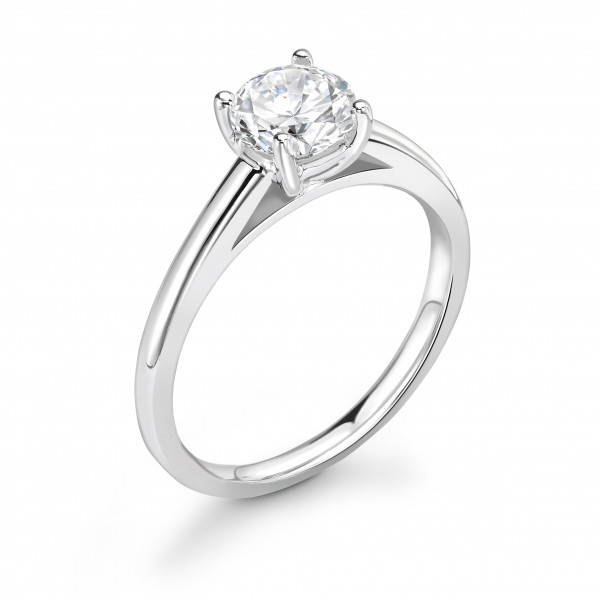 Classic Straight Shoulder Solitaire Diamond Engagement Ring