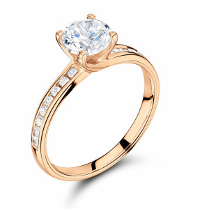 Round 0.65 VVS1 H ABELINI 18K Rose Gold Side Stone On Shoulder Set Accented Diamond Engagement Ring Yellow / White Gold