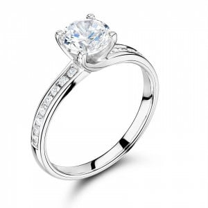 Round 0.45 VVS1 G ABELINI 950 Platinum Side Stone On Shoulder Set Accented Diamond Engagement Ring Yellow / White Gold