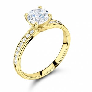 Round 0.65 VVS1 H ABELINI 18K Yellow Gold Side Stone On Shoulder Set Accented Diamond Engagement Ring Yellow / White Gold