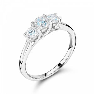 Round 1.25 SI H-I ABELINI 18K White Gold Cross Over Setting Round Trilogy Diamond Ring in gold / Platinum