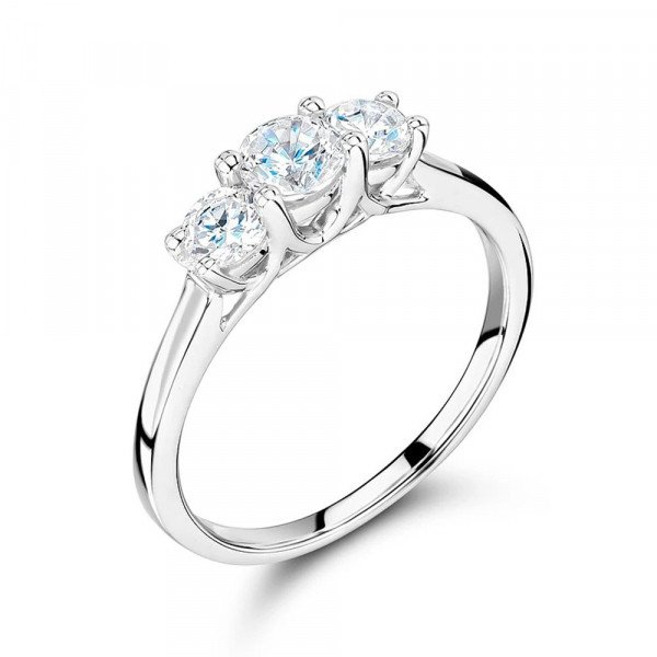Cross Over Setting Round Trilogy Diamond Ring in gold / Platinum
