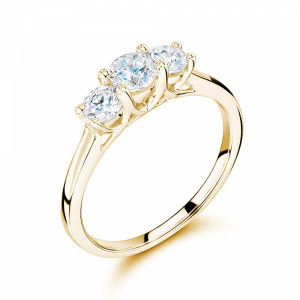 Round 0.50 I1 H-I ABELINI 9K Yellow Gold Cross Over Setting Round Trilogy Diamond Ring in gold / Platinum