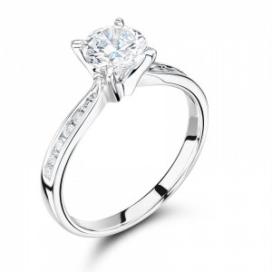 Round 0.45 VVS1 G ABELINI 950 Platinum Side Stone On Shoulder Set Accented Diamond Engagement Ring Yellow Gold