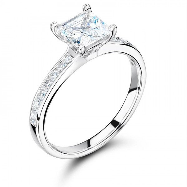 Princess Cut Side Stone On Shoulder Set Accented Diamond Engagement Ring In Platinum