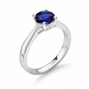 Sapphire Engagement Rings UK With Brilliant Cut Round Shape Solitaire