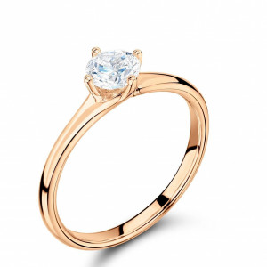 Round 0.20 VS1 E ABELINI 18K Rose Gold Unique 4 Prong Solitaire Engagement Ring Rose / Yellow / White Gold & Platinum