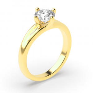 Unique 4 Prong Solitaire Engagement Ring Rose / Yellow / White Gold & Platinum