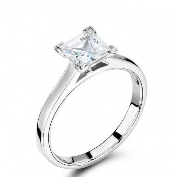 Princess Cut White Gold Engagement Rings Solitaire Diamond Rings