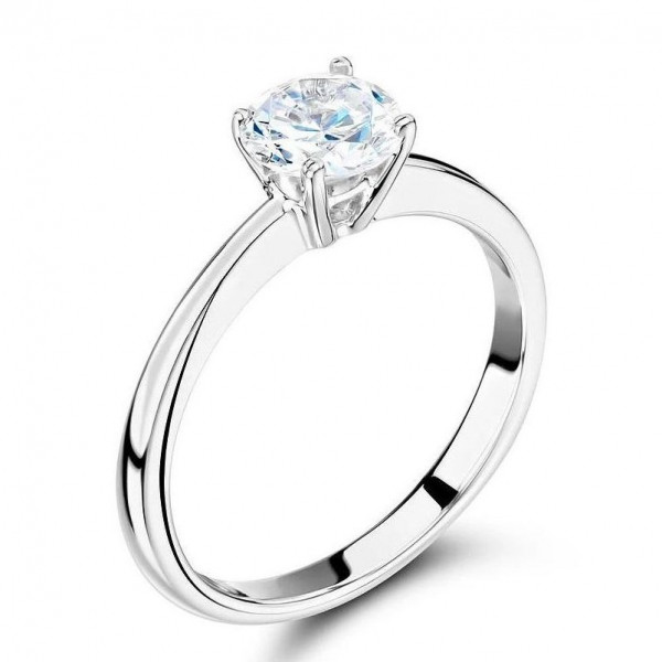 Classic Engagement Solitaire Diamond Ring Style in White Gold / Platinum
