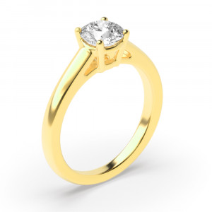 Round 0.20 VVS2 F ABELINI 18K Yellow Gold 4 Prongs Diamond Solitaire Engagement Rings Yellow Gold / Platinum