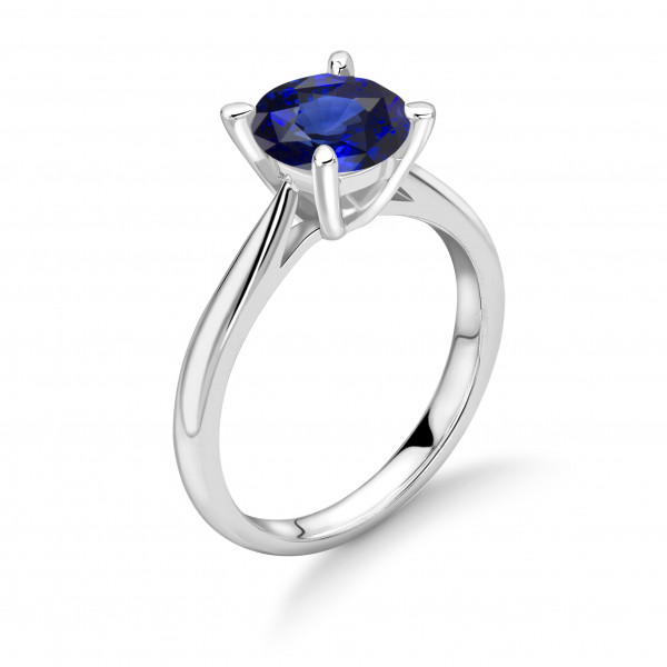 Classic 4 Prong Setting White Gold Sapphire Engagement Rings