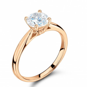 Round 0.40 I1 I ABELINI 18K Rose Gold Solitaire Engagement Rings Platinum / Rose / White Gold Brilliant Cut Diamond