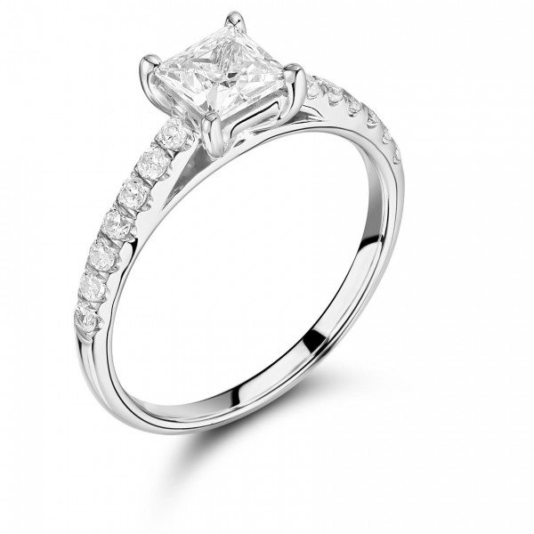 Princess Cut Side Stone On Shoulder Set Accented Diamond Engagement Ring In Rose Gold