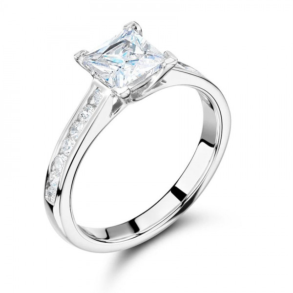 Princess Cut Side Stone On Shoulder Set Accented Diamond Engagement Ring In White Gold