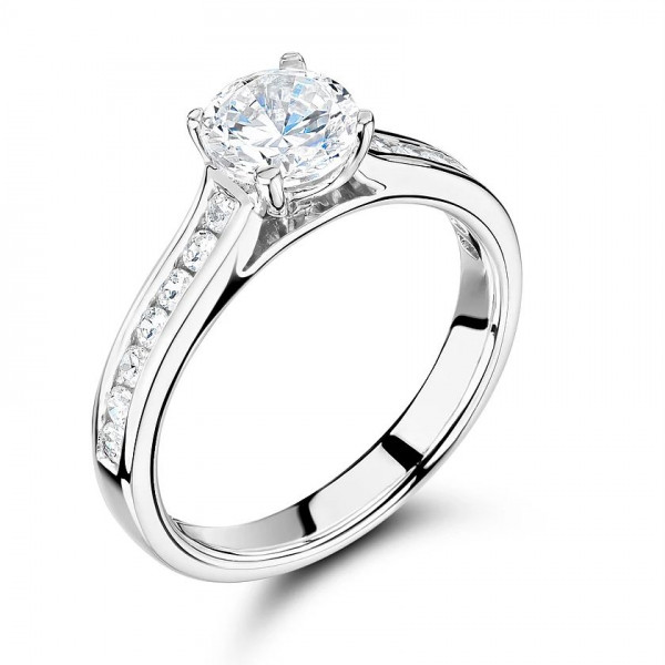 Side Stone On Shoulder Set Accented Diamond Engagement Ring Rose / White Gold