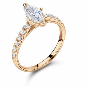 Marquise 0.85 VS1 F ABELINI 18K Rose Gold Marquise Diamond Ring With Side Stones On Shoulder Set Accented Diamond Engagement Ring