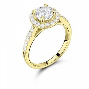 Prong Setting Round Shape Popular Halo Diamond Engagement Rings White Gold, Yellow Gold and Rose Gold