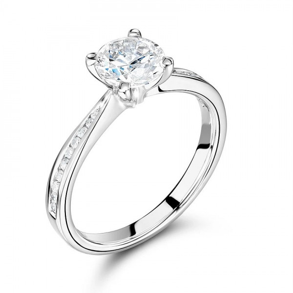 Round Diamond Engagement Ring Side Stone On Shoulder Set Accented Rose Gold