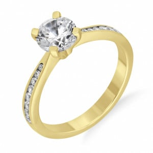 Round 0.65 VVS1 H ABELINI 18K Yellow Gold Round Diamond Engagement Ring Side Stone On Shoulder Set Accented Rose Gold