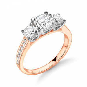 Round Diamond Trilogy Engagement Rings with Diamonds on Shoulder
