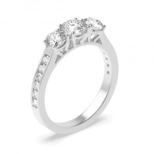 Round 1.50 I1 H-I ABELINI 18K White Gold Round Diamond Trilogy Engagement Rings with Diamonds on Shoulder